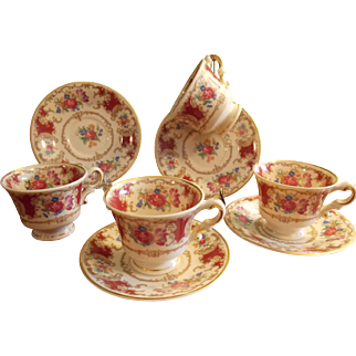 Set of Four Tea Cups and Saucers, Syracuse China Old Ivory - Romance Maroon Pattern Set of 4 Demitasse Tea Cups and Saucers