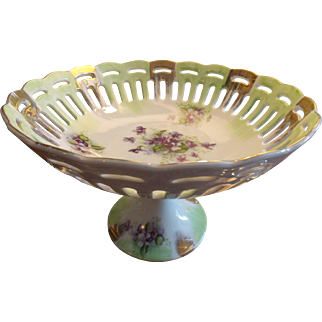 LEFTON Collectible Hand Painted Pedestal Reticulated Bowl with Violet Pattern