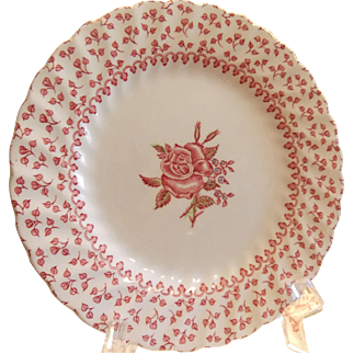 Set of 6 Johnson Brothers Bread and Butter Plates, Set of Six Rose Bouquet Ironstone Plates