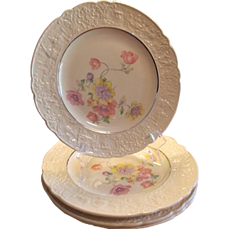 Dinner Plates, Set of Four Universal Cambridge - Old Holland Ware Floral Plates