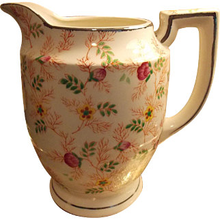 PITCHER, Large Beverage Pitcher - Hand Painted MIKORI WARE Floral Pattern Pitcher
