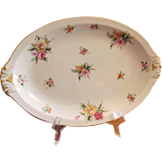 PLATTER, Vintage Oval MEITO CHINA Empire Shape Ivory China Platter, Garden Rose Pattern