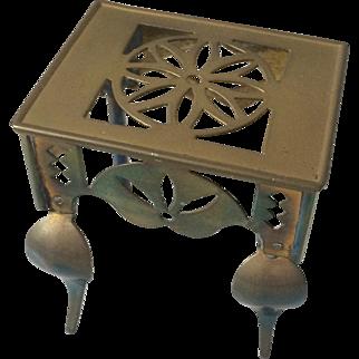 Antique Miniature Brass Teapot Trivet Footman
