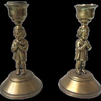 Antique Brass Little Girl Cherub Holding Cross And Praying Candlesticks