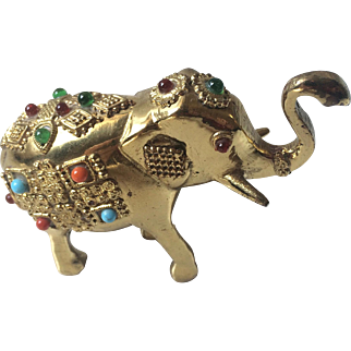 Handmade Solid Brass Jewel Beaded Indian Pakastani Elephant