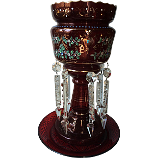 Antique Victorian Ruby Red Glass Mantle Luster With Clear Crystal Prism Danglers
