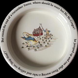 Wedgwood Beatrix Potter Tales of Peter Rabbit Porringer Cereal Bowl Stop Thief