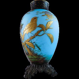 Antique Museum Quality Hand Blown Austrian Bohemian Vase Early Josef Riedel Art Glass Vase Gold Gilded Bird Orientalist Style Satin Blue Glass