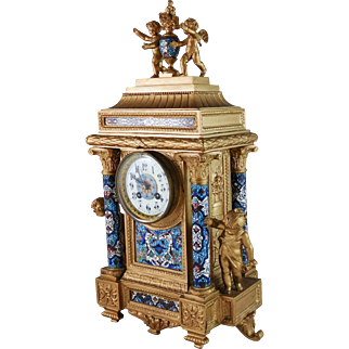 Antique French Enamel Clock With Putti Angels Metal Mantel Clock French Rococo Clock