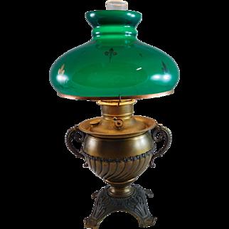 Antique Victorian Brass Miller Oil Lamp Electrified Table Lamp Boudoir Lamp FLEUR DE LIS Hunter Green Glass Shade Emerald Green on