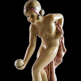 Early 20th century German Porcelain Art Deco Nude Figurine Speakeasy Orientalist German Figurine.