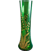 Antique Pair Circa 1890's Fine Moser Bohemian Glass Art Nouveau Vase Lily of the Valley Vase Emerald Green Glass VASE