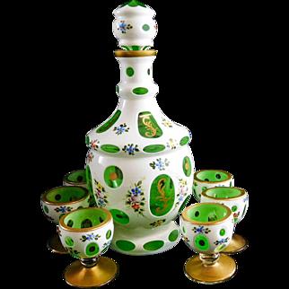 Bohemian Czech Moser Glass Cut To Clear Decanter Set Cordial Goblet