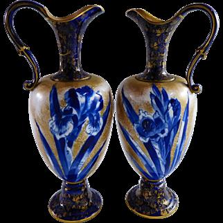 Antique Pair Circa 1886 Art Nouveau Cobalt Doulton Burslem Porcelain Iris Vase Ewer
