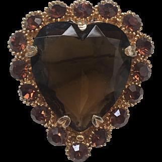 Mid Century Amber Glass Heart Brooch
