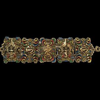 Mid Century Dragon Filigree Enamel Bracelet