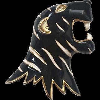 Vintage French Black Panther Enamel Brooch