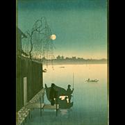 Eijiro Japanese Woodblock Print - Sumida River - Hasegawa Night Scenes -