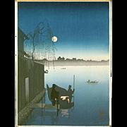 Eijiro Kobayashi - Hasegawa Night Scenes Sumida - Japanese Woodblock Print