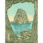 Funazaki Kojiro- Eboshi Rock in Kaiba Island - Rare Japanese Woodblock Print