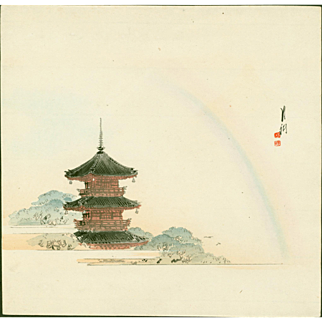 Ogata Gekko - Rainbow at Asakusa Pagoda - Japanese Woodblock Print
