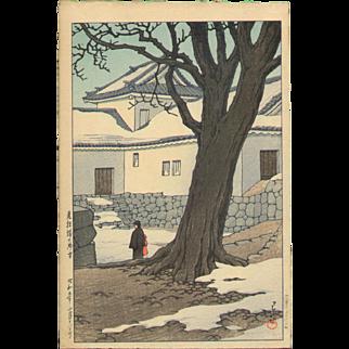 Kawase Hasui - Lingering Snow 1934 First Edition - Japanese Woodblock Print