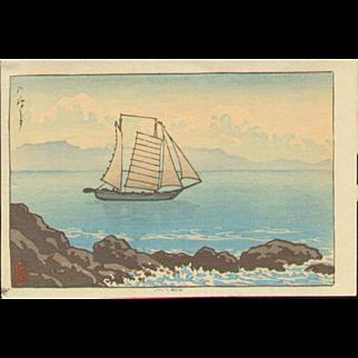 Kawase Hasui - Sailboat at Yashima - Japanese Woodblock Print