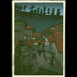 Hasui Kawase - Arifuku Hot Springs - 1924 first edition - Japanese Woodblock Print -