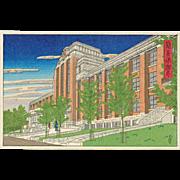 Kawase Hasui - Postal Insurance Office - Rare Postcard Woodblock Print