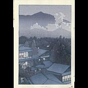 Kawase Hasui - Village in The Evening - Japanese Woodblock Print