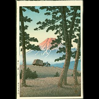 Kawase Hasui  Evening at Tagonoura - Japanese Woodblock Print -