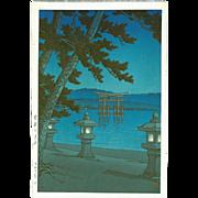 Kawase Hasui - Moonlit Miyajima - First Edition Japanese Woodblock Print
