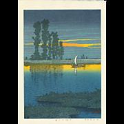 Kawase Hasui - Dusk at Ushibori - Japanese Woodblock Print