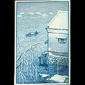 Kawase Hasui - Fisherman in the Snow - Japanese Woodblock Print