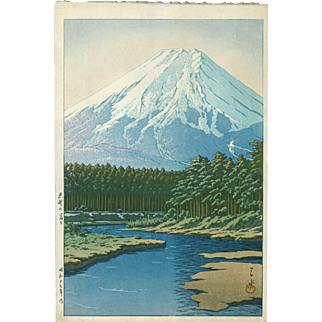 Kawase Hasui Japanese Woodblock Print - Mt. Fuji Seen From Oshino