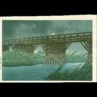 Hasui Kawase - Shower at Imai Bridge - Japanese Woodblock Print