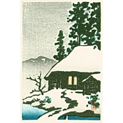 Kawase Hasui - Snow-Covered Cottage - Japanese Woodblock Print
