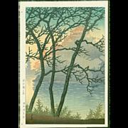 Kawase Hasui - Morning Okayama Castle - First Edition Japanese Woodblock Print