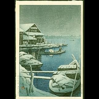 Kawase Hasui - Mukojima in Snow - 1st Edition Japanese Woodblock Print
