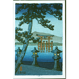 Kawase Hasui - Torii at Miyajima - Japanese Woodblock Print