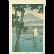 Kawase Hasui - Fuji and Sailboat Japanese Woodblock Print