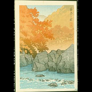 Kawase Hasui - Autumn at Shiobara - Japanese Woodblock Print