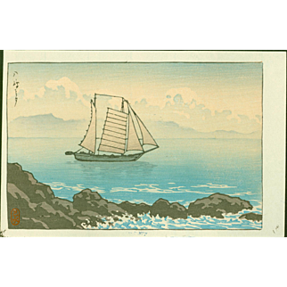 Kawase Hasui - Sailboat at Yashima - Japanese Woodblock Print