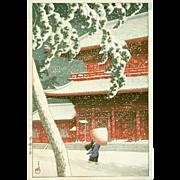 Kawase Hasui  - Zojoji Temple, Shiba - First Edition Japanese Woodblock Print