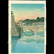 Kawase Hasui - Morning, Niju Bridge (Sunset Variant) - Japanese Woodblock Print