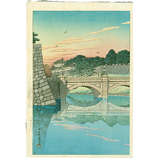 Kawase Hasui - Morning, Niju Bridge (Sunset Variant) - Japanese Woodblock Print