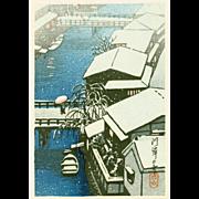 Kawase Hasui - Riverside Village in Snow - Japanese Woodblock Print