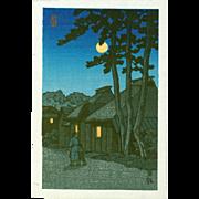 Kawase Hasui - Nissaka at Night - Japanese Woodblock Print