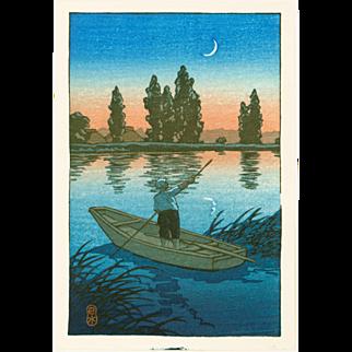 Kawase Hasui - Fisherman at Sunset - Japanese Woodblock Print