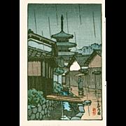 Kawase Hasui - Pagoda in Rain - Japanese Woodblock Print